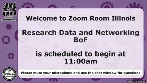 Thumbnail for entry Research Data and Networking BoF - Fall 2020 IT Pro Forum