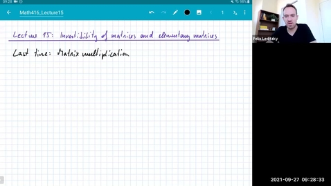 Thumbnail for entry MATH 416 Abstract Linear Algebra: Lecture 15