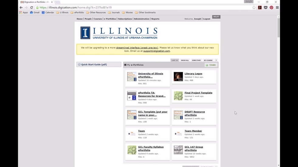 Uiuc Calendar.Uiuc Eportfolios Accessing Student Work On Illinois Digication Com