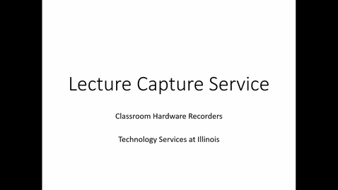 Thumbnail for entry Lecture Capture: Hardware recording single view source