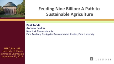 Thumbnail for entry Day 1 - Keynote Address - Peak Food?