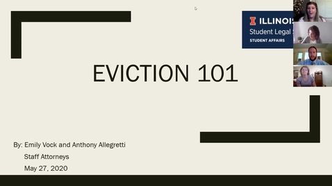 Thumbnail for entry Eviction 101 Webinar