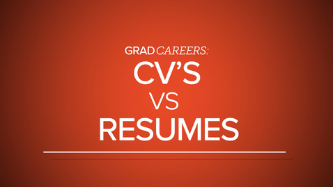 Thumbnail for entry GradCareers: CV's vs Resumes
