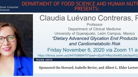 Thumbnail for entry FSHN 597 Fall 2020 Graduate Seminar- Dra. Claudia Luévano Contreras- Nov. 6, 2020