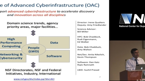 "Thumbnail for entry NCSA Special Event - Dr. Sushil Prasad, NSF - ""Research and Education Programs in NSF Office of Advanced Cyberinfrastructure"" - 2017-05-15"