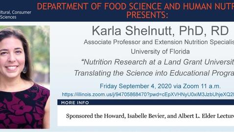 Thumbnail for entry FSHN 597 Fall 2020 Graduate Seminar- Dr. Karla Shelnutt- Sept. 4, 2020