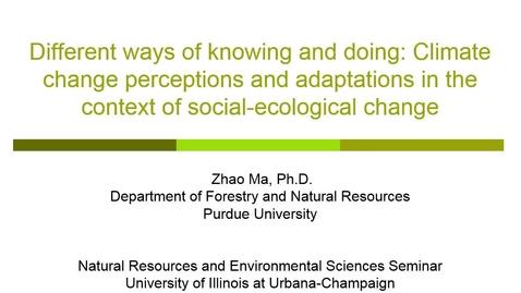 Thumbnail for entry NRES 2015 Spring Seminar Series - Zhao Ma, Ph.D.