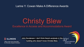 Thumbnail for entry Christy Blew Intro Video - Larine Y. Cowan Award