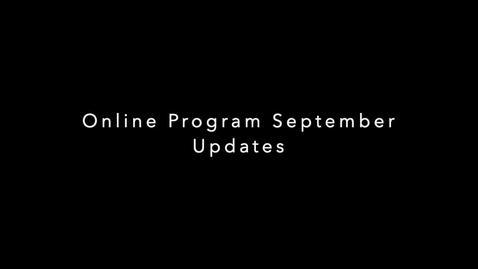 Thumbnail for entry September Online Programs Updates