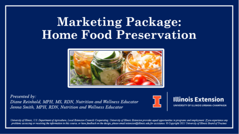 Thumbnail for entry 2021 Marketing Package: Home Food Preservation