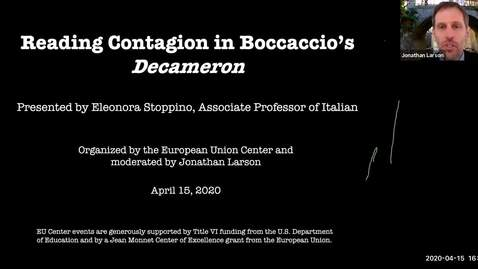 Thumbnail for entry Reading Contagion in Boccaccio's Decameron