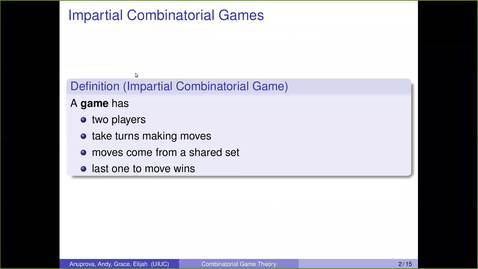 Thumbnail for entry Investigations in Combinatorial Game Theory
