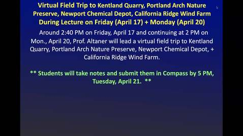 Thumbnail for entry April 17 Lecture - GEOL 380 (All-Day Field Trip - Part I)
