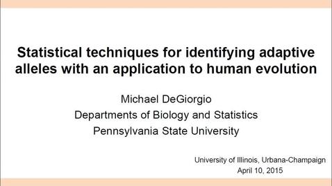 Thumbnail for entry NRES 2015 Spring Seminar Series - Michael DeGiorgio
