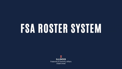Thumbnail for entry FSA- Roster System