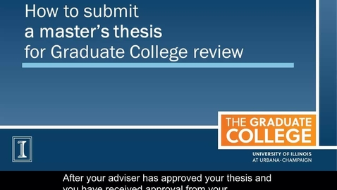 How to Submit a Master's Thesis for Graduate College Review