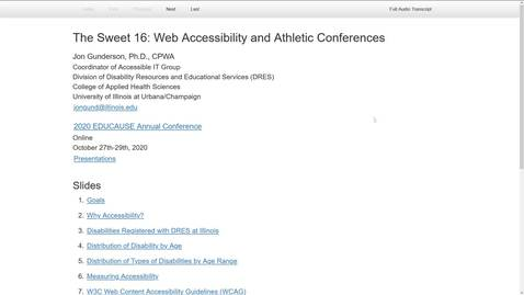 Thumbnail for entry 2020 Educause - Sweet 16: Web Accessibility and Atheletic Conferences