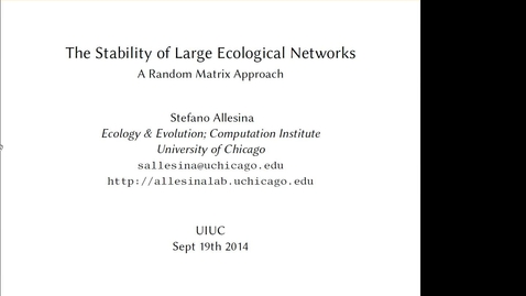 Thumbnail for entry NRES 2014 Fall Seminar Series 140919 - Stefano Allesina