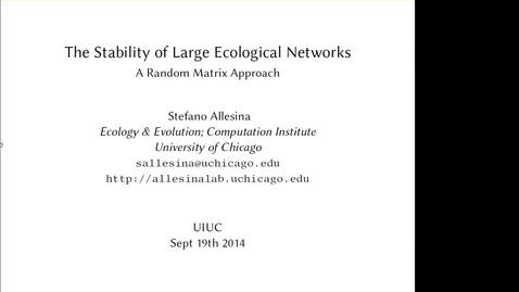 Thumbnail for entry NRES 2014 Fall Seminar Series 140919 - Stefano Allesina