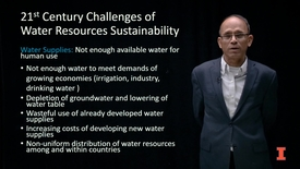 Thumbnail for entry Water in the Global Environment: Challenges for Water Sustainability