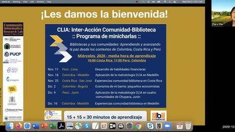 Thumbnail for entry CLIA: Inter-Acción Comunidad-Biblioteca Programa de minicharlas--Dec 2, 2020