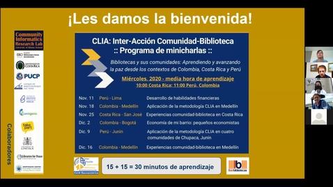 Thumbnail for entry CLIA: Inter-Acción Comunidad-Biblioteca Programa de minicharlas--Abr 28, 2021