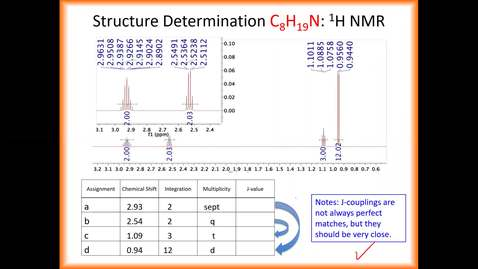 Thumbnail for entry 2nd Half of 1H NMR Part 2 & 13C NMR Recording_F 2020_slides 17-37