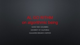Thumbnail for entry AL GO RITHM on algorithmic being