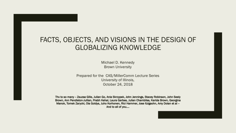 Thumbnail for entry 2018-10-24 - Globalising Knowledge - Michael Kennedy