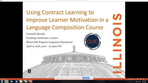 """Thumbnail for entry CLIC Webinar: """"Using Contract Learning to Improve Learner Motivation in a Language Composition Course"""""""