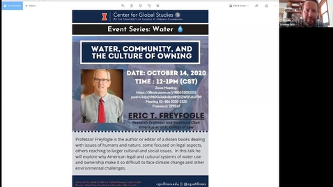 "Thumbnail for entry Eric T. Freyfogle, ""Water, Community, and the Culture of Owning"""