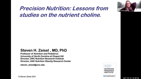 Thumbnail for entry 2.15.2021 - Steven Zeisel, MD, PhD - NUTR 500 Seminar - Frontiers in Nutritional Sciences
