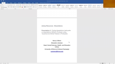 Thumbnail for entry Finding Dissertations by Nancy O'Brien