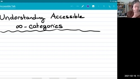 Thumbnail for entry Seminar talk: Understanding accessible infinity categories