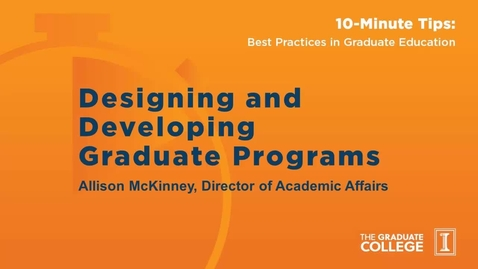 Thumbnail for entry 10-Minute Tips: Designing and Developing New Programs