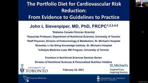 Thumbnail for entry 2.24.2021 - John Sievenpiper MD, PhD - NUTR 500 Seminar - Frontiers in Nutritional Sciences