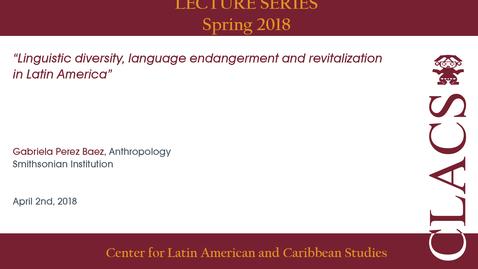 Thumbnail for entry Gabriela Perez Baez - Lecture Series - Spring 2018