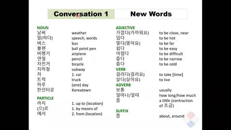 Thumbnail for entry KOR 201-Lesson 6 C1 New Words