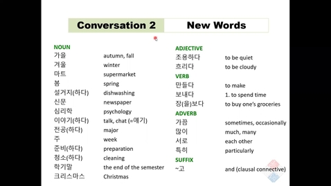 Thumbnail for entry KOR 201-Lesson 7 C2 New Words