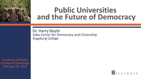 Thumbnail for entry Public Universities and the Future of Democracy