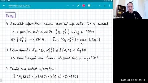 Thumbnail for entry MATH 595 Quantum channels II: Thursday, April 22