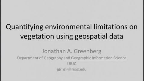 Thumbnail for entry NRES 2012 Spring Seminar Series - Jonathan A. Greenberg