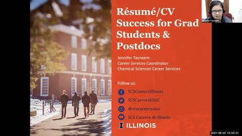 Thumbnail for entry Resume/CV Success for Grad Students & Postdocs