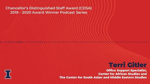 Thumbnail for entry Chancellor's Distinguished Staff Award (CDSA) 2019 - 2020 Winner: Teri Gitler