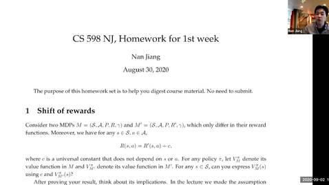 Thumbnail for entry CS 598 Stat RL (F20) 9/2