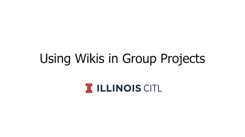 Thumbnail for entry Using Wikis in Group Projects