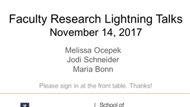 Thumbnail for entry Faculty Research Lightning Talk - November 24, 2017