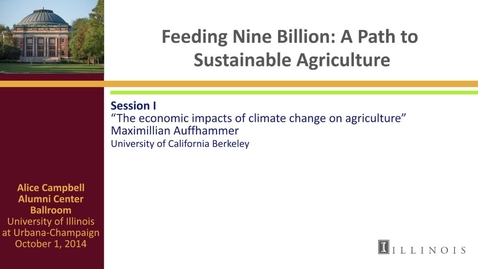 Thumbnail for entry Day 2 - Session I - The economic impacts of climate change on agriculture