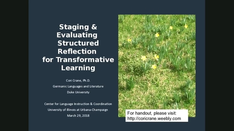 """Thumbnail for entry CLIC Webinar: """"Staging and Evaluating Structured Reflection for Transformative Learning"""""""