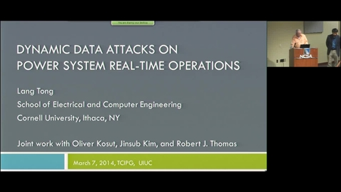 Thumbnail for entry Dynamic Data Attacks on Power System Real-time Operations